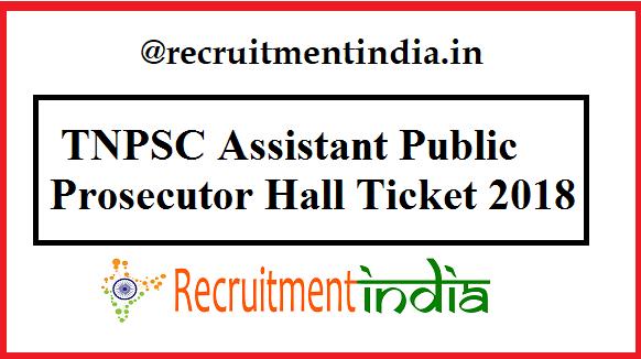 TNPSC Assistant Public Prosecutor Hall Ticket