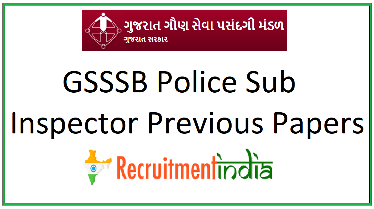 GSSSB Police Sub Inspector Previous Papers