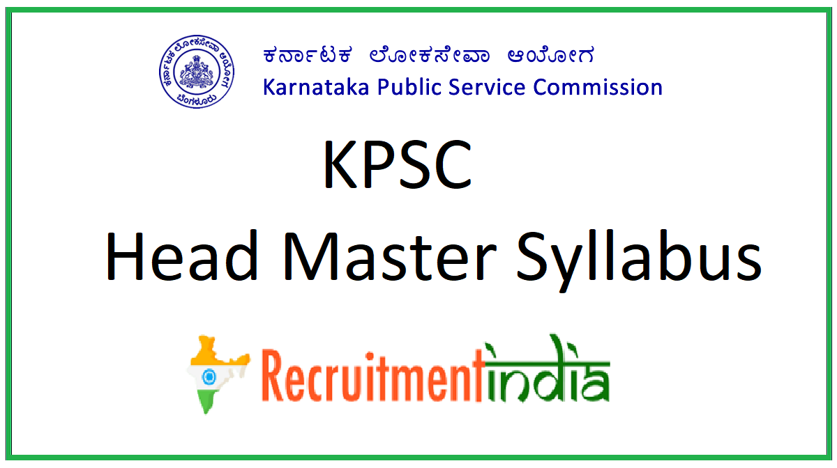 KPSC Head Master Syllabus