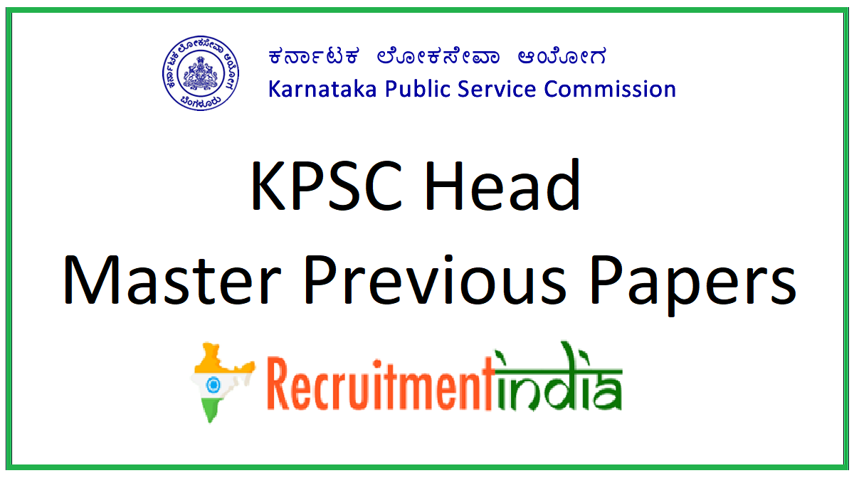 KPSC Head Master Previous Papers