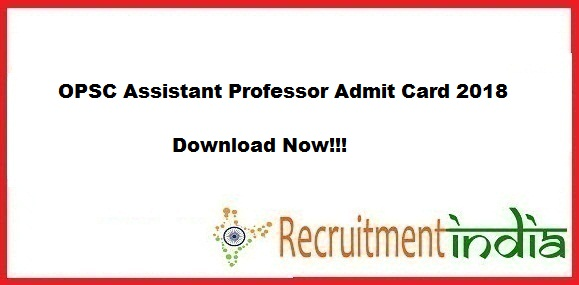 OPSC Assistant Professor Admit Card