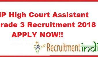 MP High Court Assistant Grade 3 Recruitment 2018