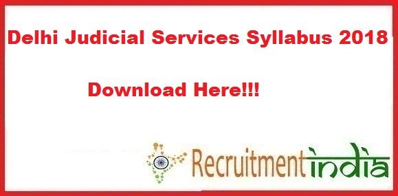 Delhi Judicial Services Syllabus 2018