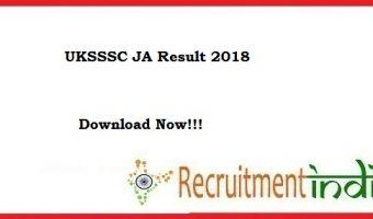 UKSSSC JA Result 2018