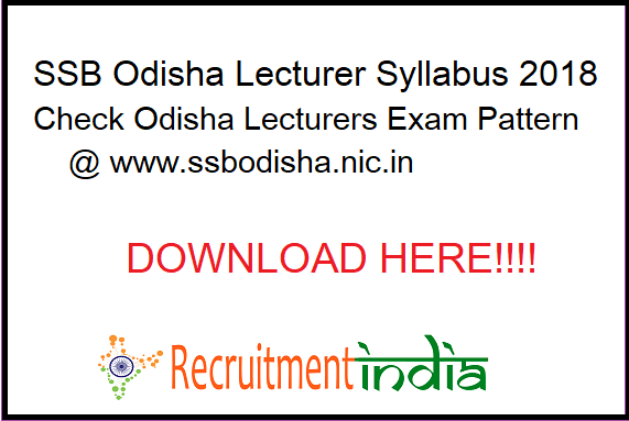 SSB Odisha Lecturer Syllabus