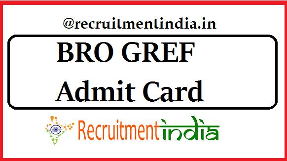 BRO GREF Admit Card