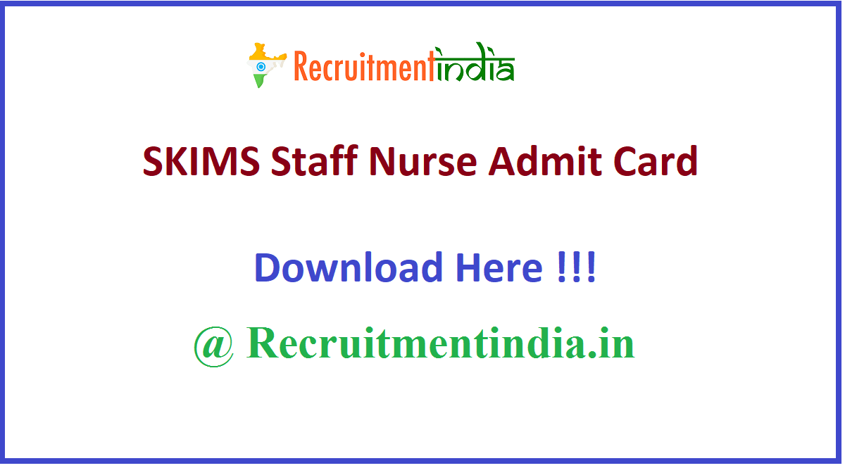 SKIMS Staff Nurse Admit Card