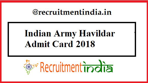 Indian Army Havildar Admit Card