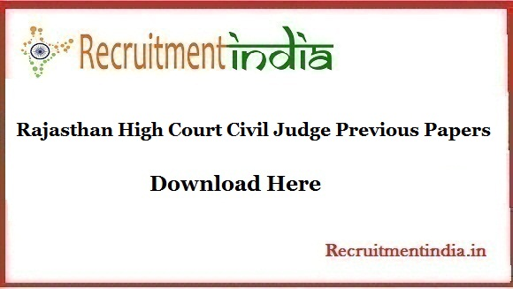 Rajasthan High Court Civil Judge Previous Papers