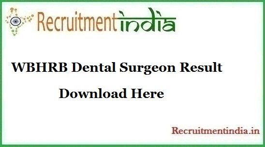 WBHRB Dental Surgeon Result