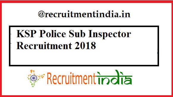 KSP Police Sub Inspector Recruitment