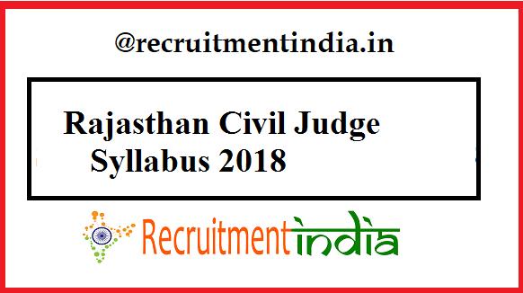 Rajasthan Civil Judge Syllabus