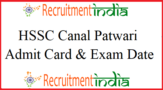 HSSC Canal Patwari Admit Card