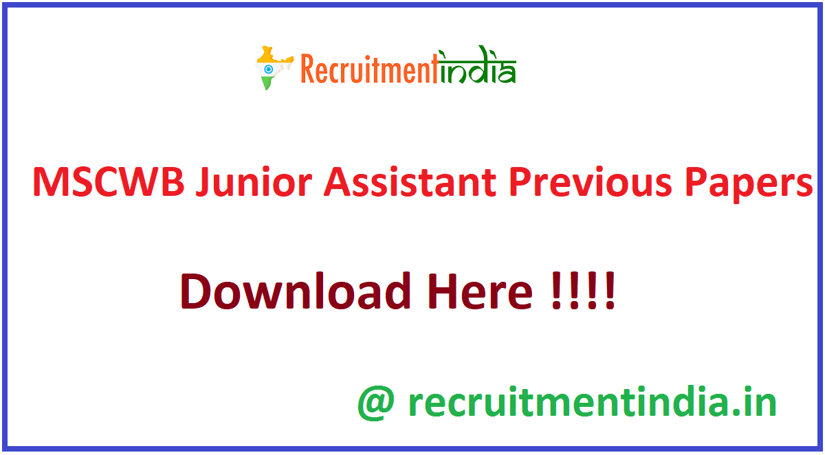 MSCWB Junior Assistant Previous Papers