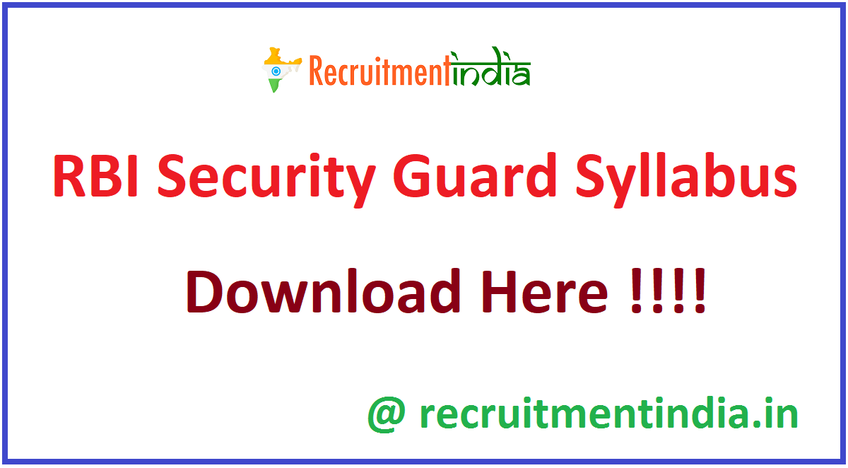 RBI Security Guard Syllabus