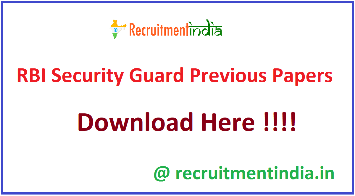 RBI Security Guard Previous Papers