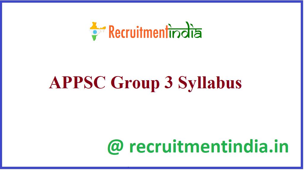 APPSC Group 3 Syllabus