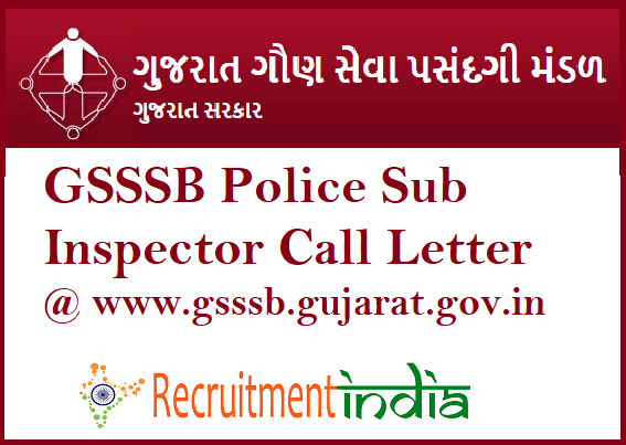 GSSSB Police Sub Inspector Call Letter