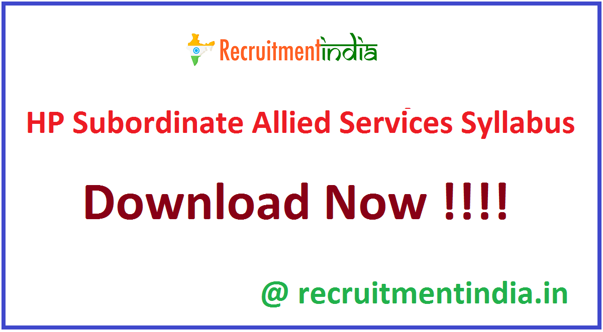 HP Subordinate Allied Services Syllabus