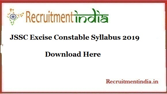 JSSC Excise Constable Syllabus