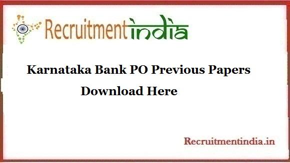 Karnataka Bank PO Previous Papers