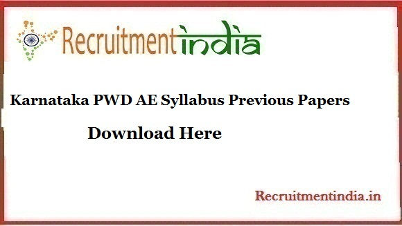 Karnataka PWD AE Syllabus Previous Papers