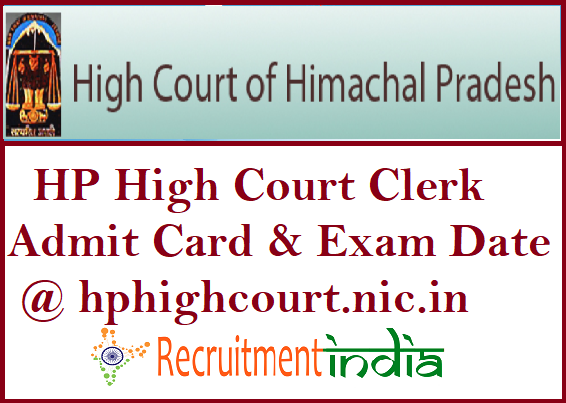 HP High Court Clerk Admit Card