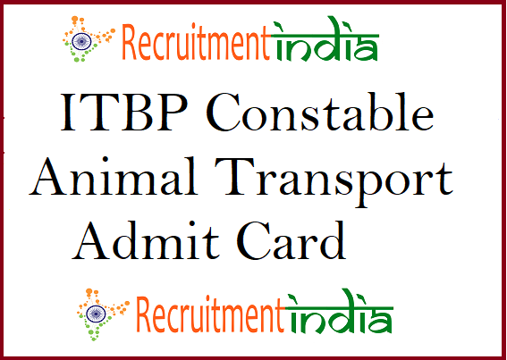 ITBP Animal Transport Admit Card