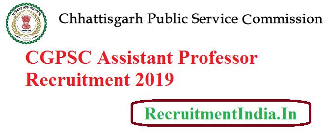 CGPSC Assistant Professor Recruitment 2019