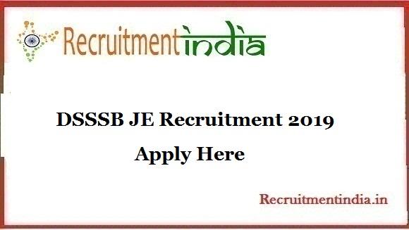 DSSSB JE Recruitment