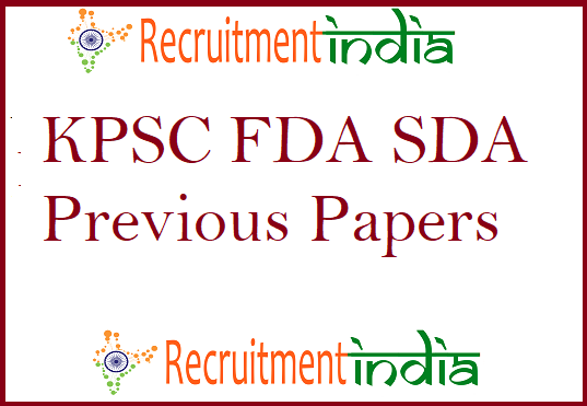 KPSC FDA SDA Previous Papers