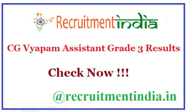 CG Vyapam Assistant Grade 3 Results