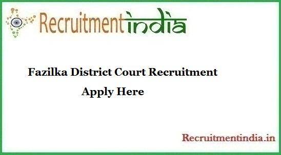 Fazilka District Court Recruitment