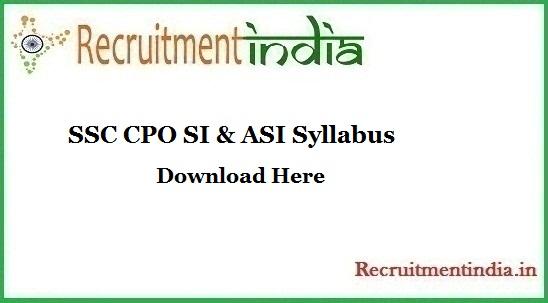 SSC CPO SI & ASI Syllabus