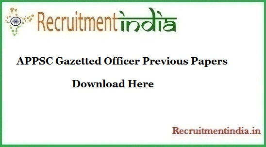 APPSC Gazetted Officer Previous Papers