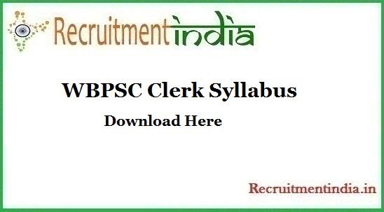 WBPSC Clerk Syllabus