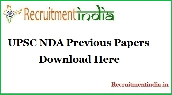 UPSC NDA Previous Papers
