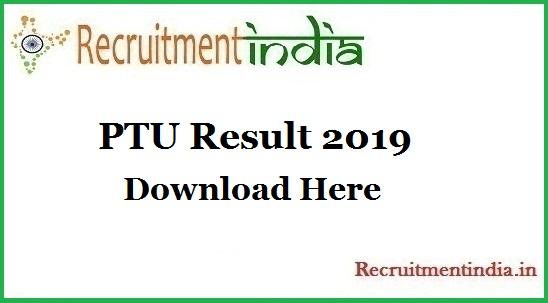 PTU Result 2019 | UG & PG Courses Semester Result