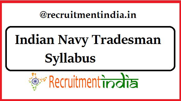 Indian Navy Tradesman Syllabus