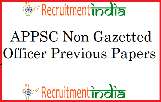 APPSC Non Gazetted Officer Previous Papers