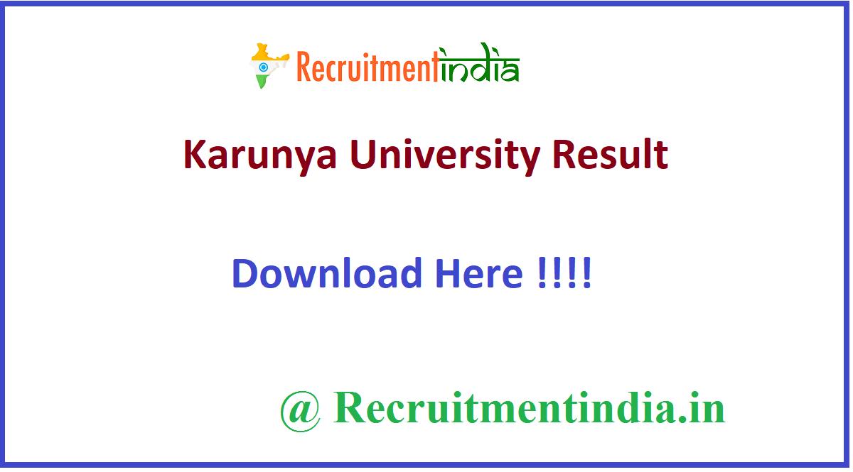 Karunya University Result