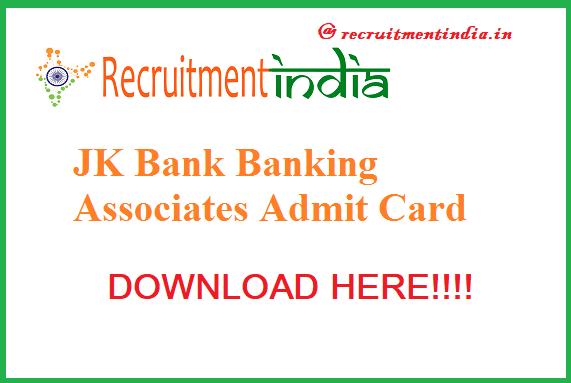 JK Bank Banking Associates Admit Card