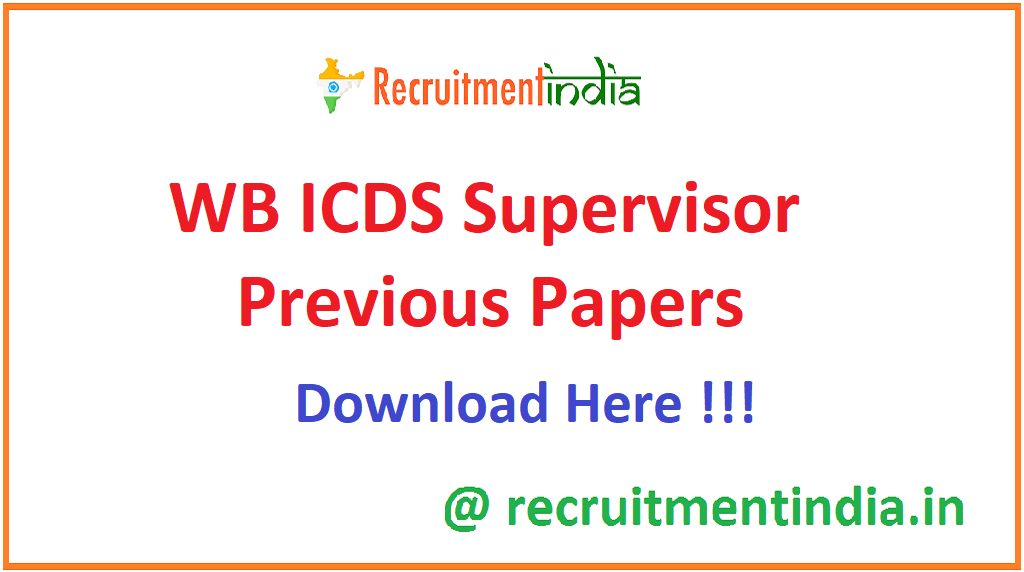 WB ICDS Supervisor Previous Papers