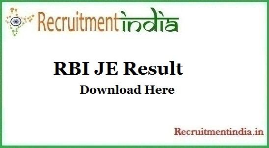 RBI JE Result