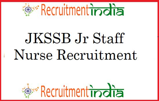 JKSSB Jr Staff Nurse Recruitment