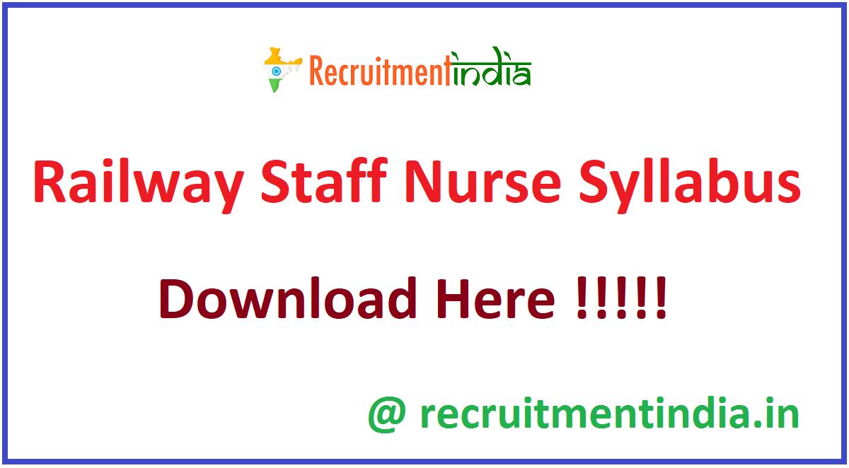 Railway Staff Nurse Syllabus