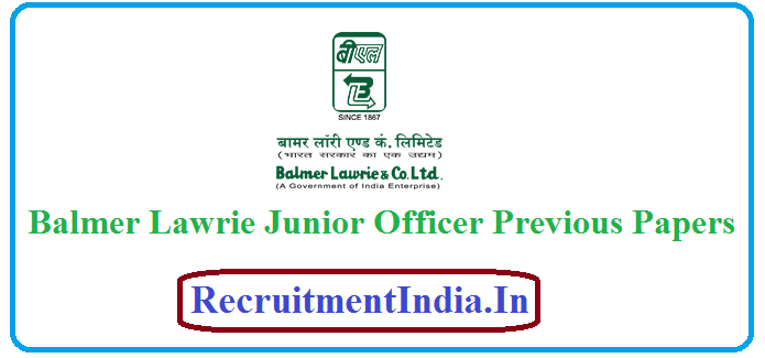 Balmer Lawrie Junior Officer Previous Papers