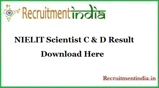 NIELIT Scientist C & D Result