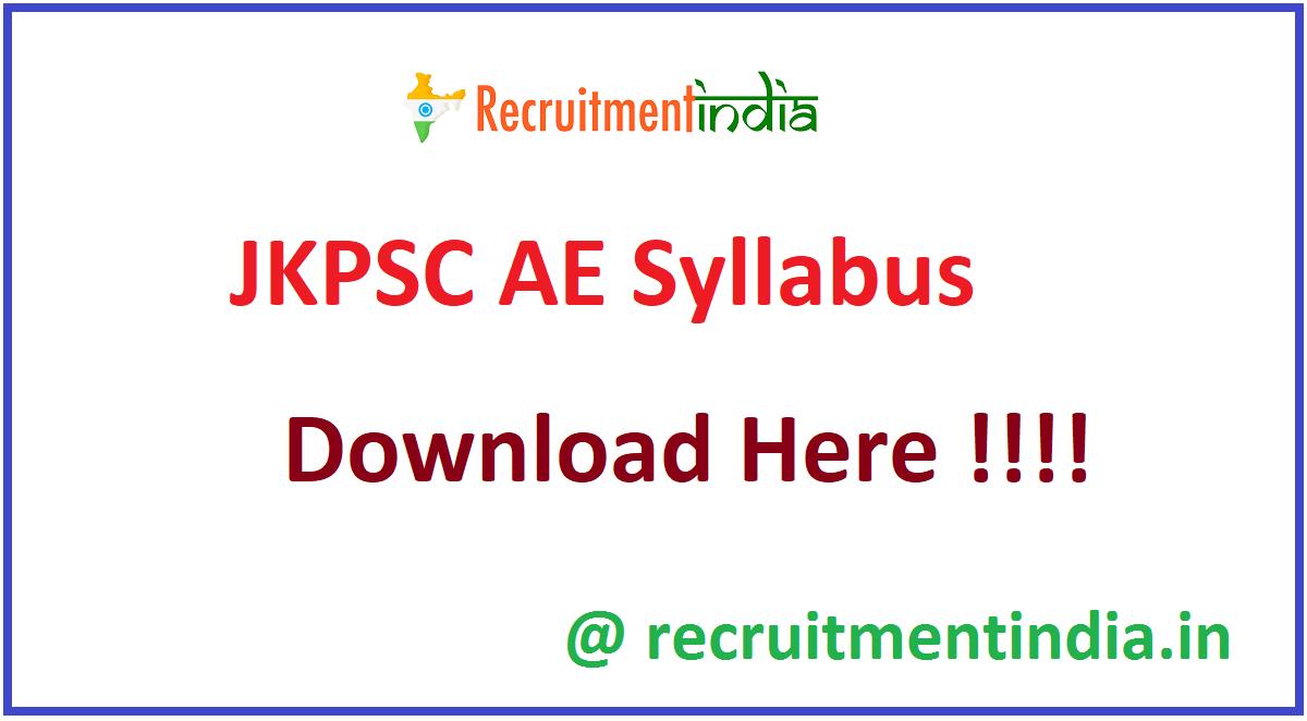 JKPSC AE Syllabus