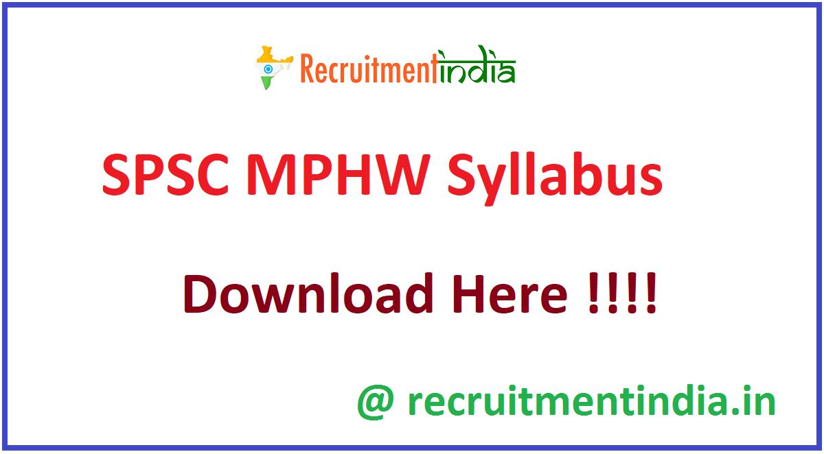 SPSC MPHW Syllabus